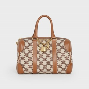Celine Small Boston Bag in Textile with Triomphe Embroidery - Brown - 부루 구매대행