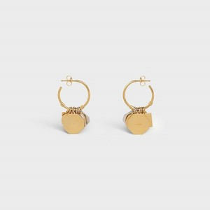 Celine Composition Earrings in Brass Bi-Galva with Gold and Rhodium finish - 부루 구매대행