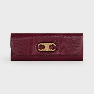 Celine Clutch Maillon Triomphe in Python - Burgundy - 부루 구매대행
