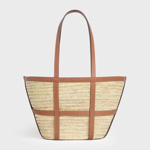Celine LARGE GRIDDED CELINE CLASSIC PANIER in Raffia and Calfskin - Brown - 부루 구매대행