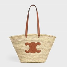 Large Triomphe Celine Classic Panier in Raffia and Calfskin - Brown - 부루 구매대행